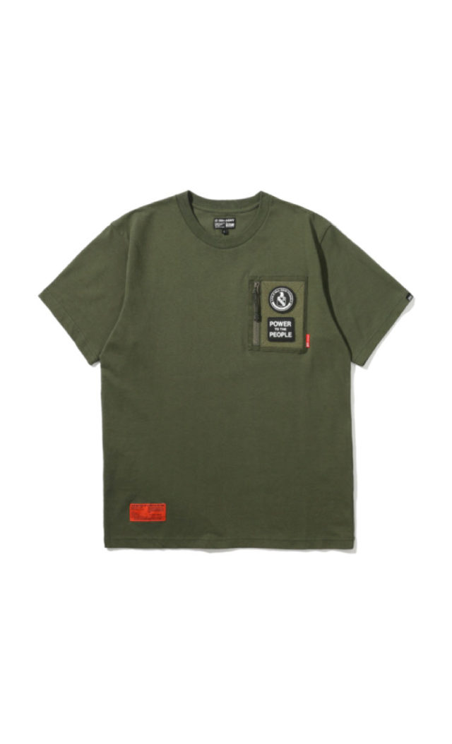 2fbc5991 i.t: 5CM, AAPE, CHOCOOLATE, IZZUE, FINGERCROXX. Izzue Men's Army velcro pocket  tee